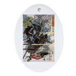 Japanese Samurai Warrior Narishige Oval Ornament