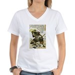 Japanese Samurai Warrior Naotsugu Women's V-Neck T
