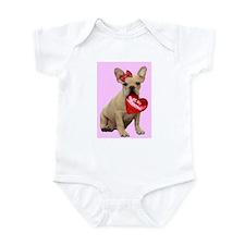 Be my Valentine French Bulldo Infant Bodysuit