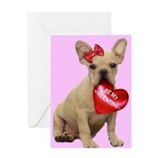 Be my Valentine French Bulldo Greeting Card