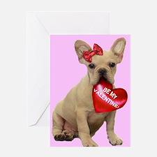 Be my Valentine French Bulldo Greeting Card