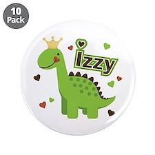 "Dinosaur Princess Izzy 3.5"" Button (10 pack)"