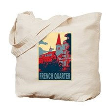 French Quarter in Red and Blu Tote Bag