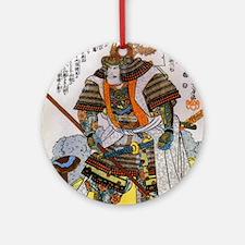 Japanese Samurai Warrior Yoshiaki Ornament (Round)