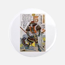 "Japanese Samurai Warrior Yoshiaki 3.5"" Button"