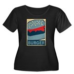 Burger in Red and Blue Women's Plus Size Scoop Nec