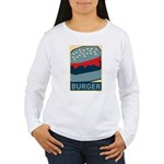 Burger in Red and Blue Women's Long Sleeve T-Shirt