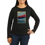Burger in Red and Blue Women's Long Sleeve Dark T-