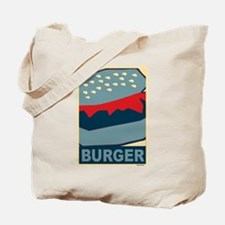 Burger in Red and Blue Tote Bag
