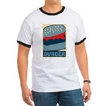 Burger in Red and Blue Ringer T