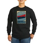 Burger in Red and Blue Long Sleeve Dark T-Shirt