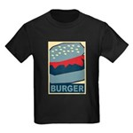 Burger in Red and Blue Kids Dark T-Shirt