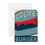 Burger in Red and Blue Greeting Cards (Pk of 10)