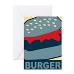 Burger in Red and Blue Greeting Card