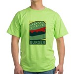Burger in Red and Blue Green T-Shirt