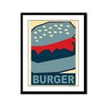 Burger in Red and Blue Framed Panel Print