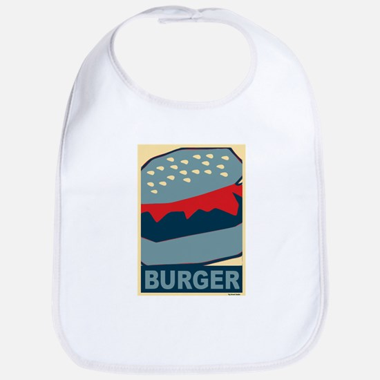 Burger in Red and Blue Bib