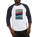 Burger in Red and Blue Baseball Jersey