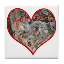 Helaine's Koala Valentine Tile Coaster