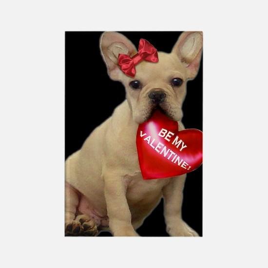 Valentine French Bulldog Rectangle Magnet