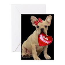Be my Valentine French Bulldo Greeting Cards (Pk o