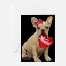 Be my Valentine French Bulldog Greeting Card