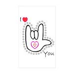 B/W Bold I-Love-You Rectangle Sticker 10 pk)