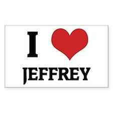 I Love Jeffrey Rectangle Decal