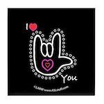 B/W Bold I-Love-You Black Tile Coaster