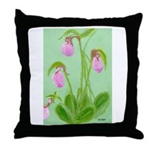 lady slipper painting Throw Pillow