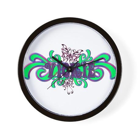 Vickie's Purple-Green Butterf Wall Clock
