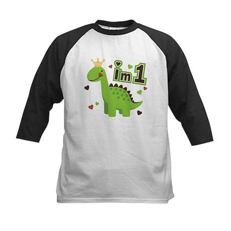 I'm 1 Dinosaur Princess Kids Baseball Jersey