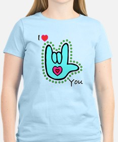Aqua Bold I-Love-You T-Shirt