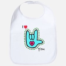 Aqua Bold I-Love-You Bib