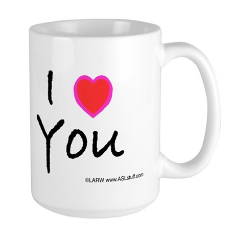 Aqua Bold I-Love-You Large Mug