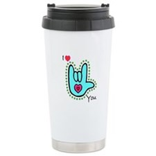 Aqua Bold I-Love-You Travel Coffee Mug