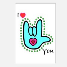 Aqua Bold I-Love-You Postcards (Package of 8)