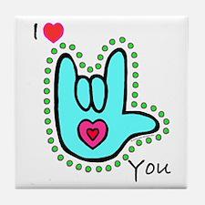 Aqua Bold I-Love-You Tile Coaster