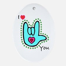 Aqua Bold I-Love-You Oval Ornament