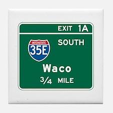 Waco, TX Highway Sign Tile Coaster