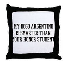 Smart My Dogo Argentino Throw Pillow