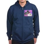 Trumpeter Pigeons and Flowers Zip Hoodie (dark)