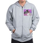 Trumpeter Pigeons and Flowers Zip Hoodie