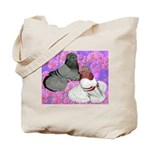 Trumpeter Pigeons and Flowers Tote Bag
