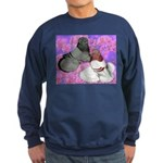 Trumpeter Pigeons and Flowers Sweatshirt (dark)