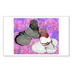 Trumpeter Pigeons and Flowers Rectangle Sticker 1