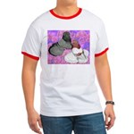 Trumpeter Pigeons and Flowers Ringer T