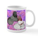 Trumpeter Pigeons and Flowers Mug