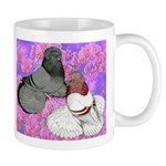 Trumpeter Pigeons and Flowers Mug