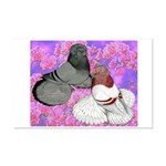 Trumpeter Pigeons and Flowers Mini Poster Print